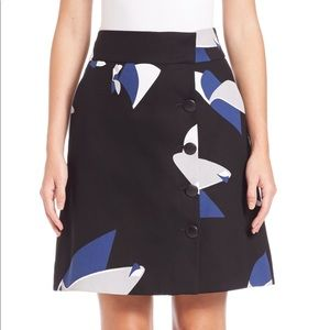 Tibi Floral Particle Cotton Wrap Skirt